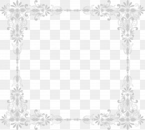 Grey Flower Frame - White Black Area Pattern PNG