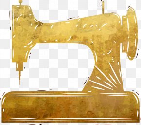 Vector Painted Gold Sewing Machine - Sewing Machine Euclidean Vector PNG
