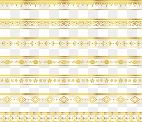 Delicate Gold Lace Border - Yellow Angle Pattern PNG