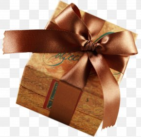 Brown Present With Brown Bow Clipart - Paper Box Gift Wrapping Craft PNG