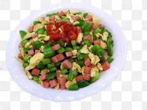 Ham, Green Pepper Scrambled Eggs - Israeli Salad Scrambled Eggs Omelette Ham Vegetarian Cuisine PNG