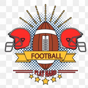 Vector Hand-painted American Football Badge - American Football PNG