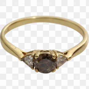 Ring - Engagement Ring Brown Diamonds Diamond Cut PNG
