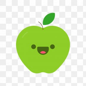 Green Cartoon Smiley Apple - Apple Cartoon PNG