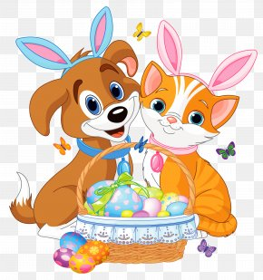 Cute Puppy And Kitten With Easter Bunny Ears And Basket - Easter Bunny Cat Dog Pet PNG