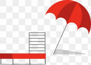 Vector Painted Red Beach Umbrella And Deck Chairs - Sandy Beach Umbrella PNG