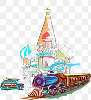 Vector Illustration Train With The City - Russia Euclidean Vector Illustration PNG