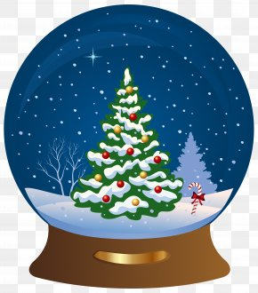 Christmas Tree Snowglobe Transparent Clip Art Image - Snow Globe Christmas Tree Santa Claus Clip Art PNG