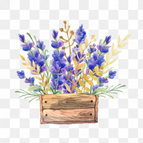 Watercolor Flower Baskets - English Lavender Watercolor Painting Flower Drawing Box PNG