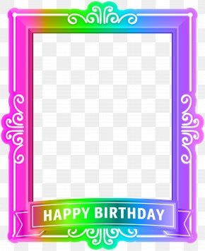Happy Birthday Frame Multicolor Clip Art - Birthday Picture Frame Blue Wedding PNG