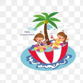 Swim Umbrella Couple - Swimming Pool Clip Art PNG