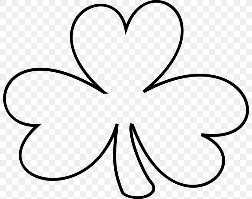 Shamrock Saint Patrick's Day White Clover Clip Art, PNG, 800x647px, Shamrock, Area, Artwork, Black, Black And White Download Free