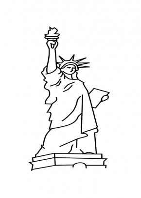 Statue Of Liberty Drawing Outline - Statue Of Liberty Cartoon Drawing Clip Art PNG