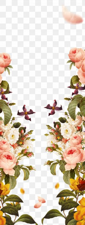 Hand Painted Pink Borders - Pink Flowers Garden Roses PNG