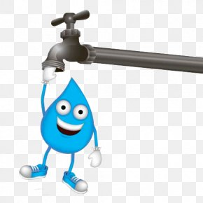 Cartoon Water Drops And Faucet - Tap Water Drop Tap Water PNG