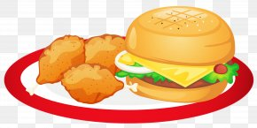 Hamburger And Chicken Legs Plate Clipart - Hamburger Indian Cuisine Food Brunch Clip Art PNG