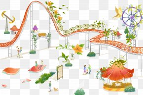 Hand Drawn Amusement Park - Amusement Park Roller Coaster Illustration PNG
