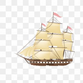 Vector Sail Sail - Brigantine Galleon Sailing Ship Euclidean Vector PNG