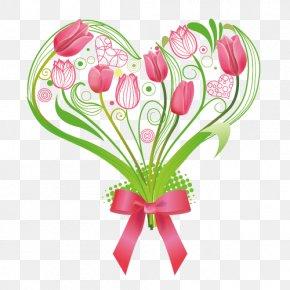 Heart Album - Tulip Flower Heart Illustration PNG