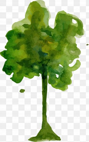 Cartoon Watercolor Trees PNG
