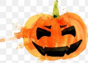 Halloween Pumpkin Watercolor - Halloween Pumpkin Jack-o'-lantern Calabaza PNG