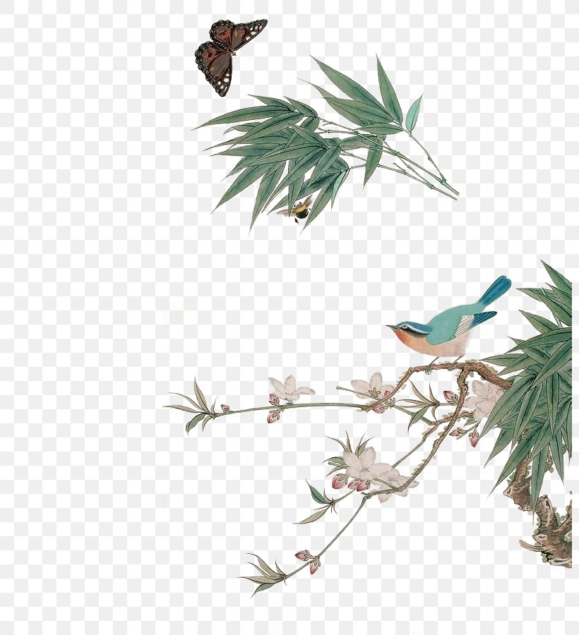 Bamboo Bird-and-flower Painting, PNG, 800x900px, Bamboo, Beak, Bird, Birdandflower Painting, Branch Download Free
