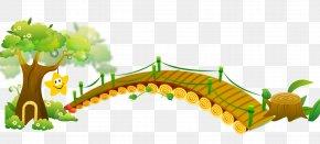 Cartoon Illustration Wooden Bridge And Trees - Cartoon Bridge Illustration PNG