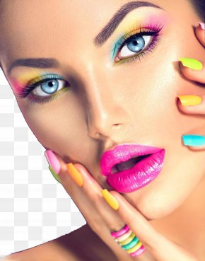 Colorful Eye Shadow Woman Face Closeup - Cosmetics Beauty Face Make-up Artist Eye Shadow PNG