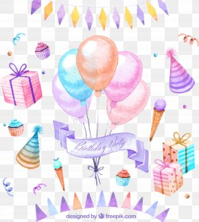 Drawing A Variety Of Birthday Party Elements - Birthday Cake Party Greeting Card PNG