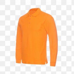 Orange Long Sleeved T-shirt - Sleeve Neck PNG