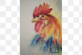 Feather - Rooster Watercolor Painting Beak Feather Chicken As Food PNG