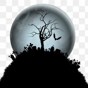 Vector Halloween Moon Tree - Halloween Wallpaper PNG