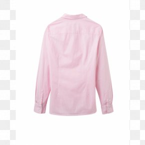 Pink Stripes - Blouse Neck Collar Sleeve Pink M PNG