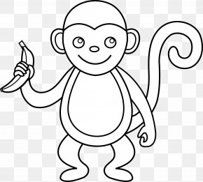Outline Of A Monkey - Spider Monkey Black And White Clip Art PNG