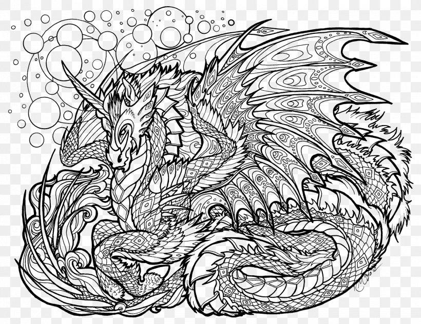 coloring book adult dragon mandala drawing png