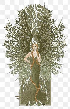 Fashion Woman Plants - Artist Graphic Design Portrait Illustration PNG