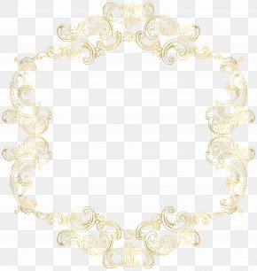 Gold Vintage Border Frame Clip Art Image - White Wedding Ceremony Supply Pattern PNG