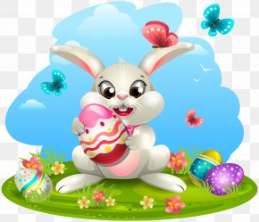 Easter Bunny With Eggs Clipart Image - Easter Bunny Egg Decorating Easter Egg Clip Art PNG