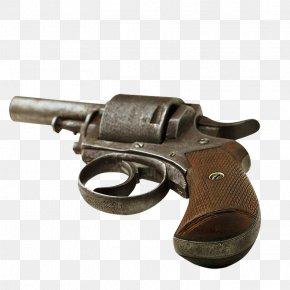 Flat Vintage Pistol - Revolver Firearm Weapon Pistol PNG