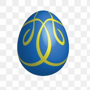 Large Blue Easter Egg With Yellow Ornaments - Easter Bunny Easter Egg Euclidean Vector Clip Art PNG