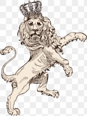 Vintage Lion Vector - Lion Tiger Illustration PNG