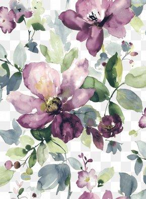 Watercolor Painted Purple Flowers Blooming - Watercolor Painting Watercolour Flowers Floral Design Wallpaper PNG