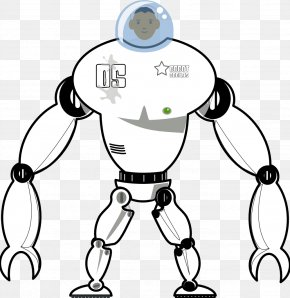 Black Robot - Black And White Coloring Book Drawing Clip Art PNG