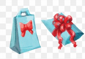 Vector Blue Hand Painted Bowknot Gift Bag - Christmas Gift Christmas Gift Watercolor Painting PNG