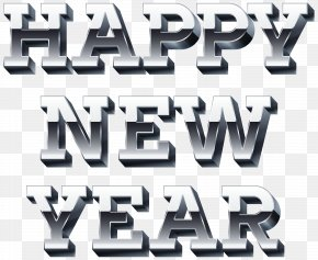 Happy New Year Silver Clip Art Image PNG