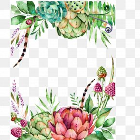Foreign Hand-painted Watercolor Flower Insect Succulents - Wedding Invitation Succulent Plant Flower Watercolor Painting Illustration PNG