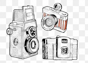 Hollow Line Digital Camera - Camera Drawing Photography PNG