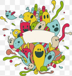 Vector Cartoon Color Cute Monster Ghost Group - Euclidean Vector Drawing PNG