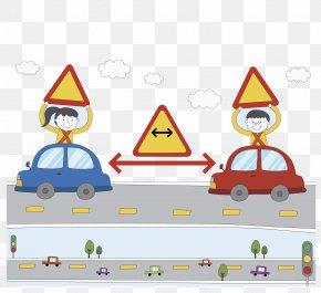Traffic Sign - Traffic Sign Transport Arrow Road Pedestrian PNG