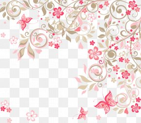 Romantic Pink Flowers Background - Wedding Invitation Flower Rose Clip Art PNG